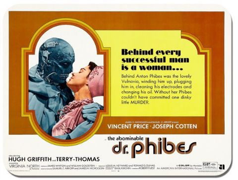 Dr Phibes Mouse Mat. Movie Film Poster Mouse Pad. Vincent Price The Abominable